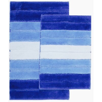 2 Piece Ombre Shade Bath Rug Set Color: Navy