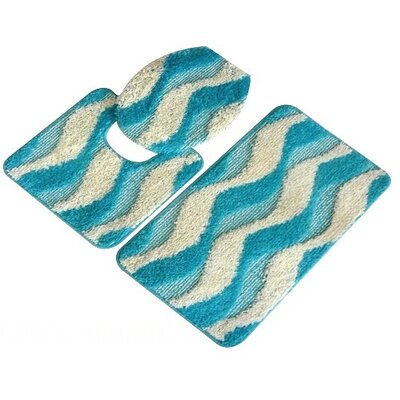 Montana 3 Piece Bath Mat Set Color: Turquoise