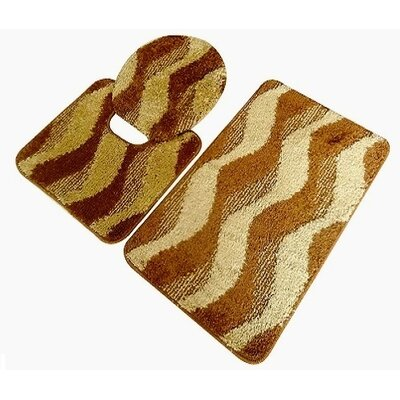 Montana 3 Piece Bath Mat Set Color: Gold