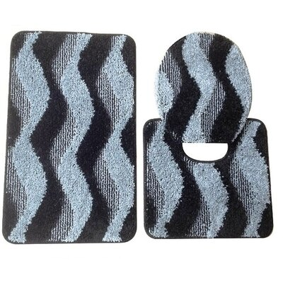 Montana 3 Piece Bath Mat Set Color: Gray