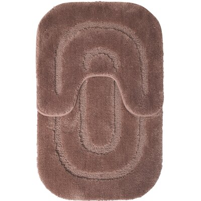 2 Piece Bath Mat Set Color: Brown