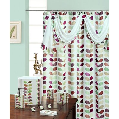 Shower Curtain Color: White / Green
