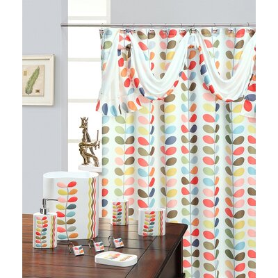 Shower Curtain Color: White / Pink