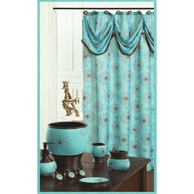 Dante Decorative Shower Curtain Color: Aqua Blue
