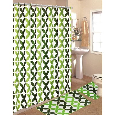 15 Piece Shower Curtain Set Color: Green