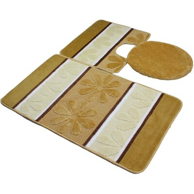 Oakdale 3 Piece Bath Mat Set Color: Gold