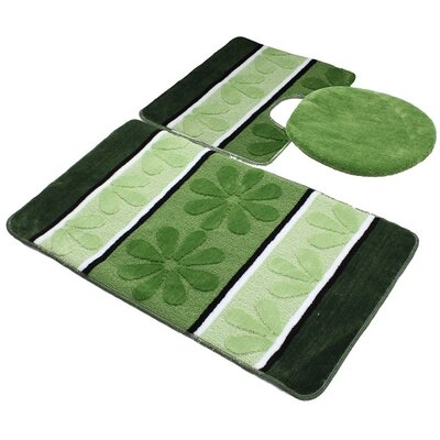 Oakdale 3 Piece Bath Mat Set Color: Green