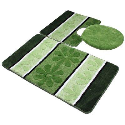Oakdale 3 Piece Bath Mat Set Color: Green