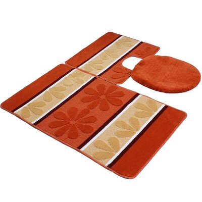 Oakdale 3 Piece Bath Mat Set Color: Orange