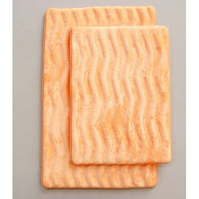 Wave 2 Piece Bath Mat Set Color: Orange
