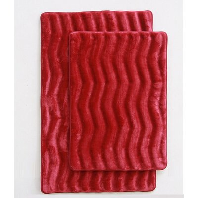 Wave 2 Piece Bath Mat Set Color: Burgundy