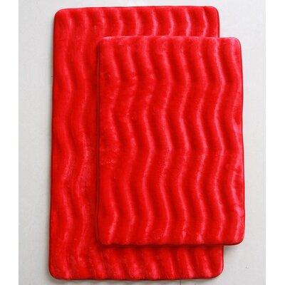 Wave 2 Piece Bath Mat Set Color: Red