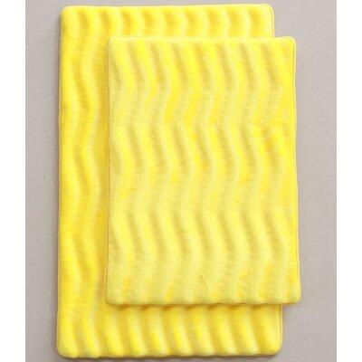 Wave 2 Piece Bath Mat Set Color: Yellow