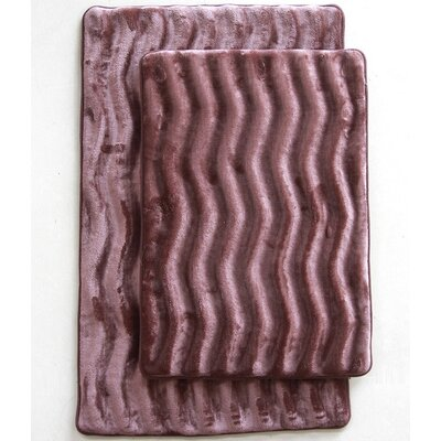 Wave 2 Piece Bath Mat Set Color: Coffee