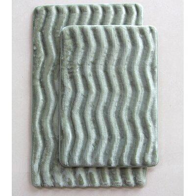 Wave 2 Piece Bath Mat Set Color: Sage