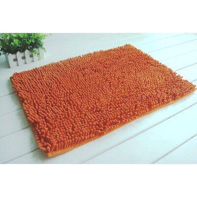 2 Piece Chenille Bath Rug Set Color: Orange