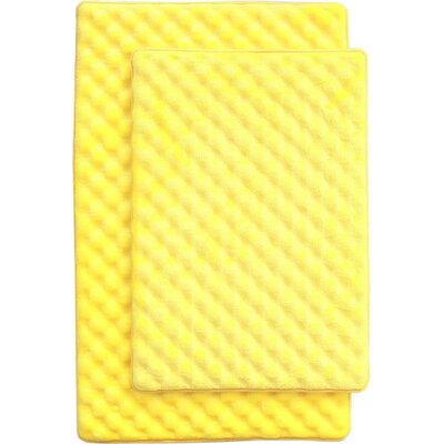Martha 2 Piece Bath Mat Set Color: Yellow