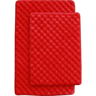 Martha 2 Piece Bath Mat Set Color: Red