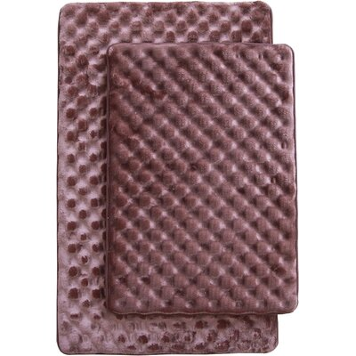 Martha 2 Piece Bath Mat Set Color: Coffee