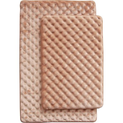 Martha 2 Piece Bath Mat Set Color: Taupe