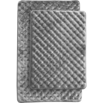 Martha 2 Piece Bath Mat Set Color: Gray