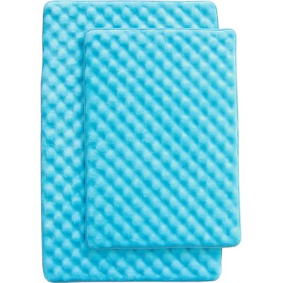 Martha 2 Piece Bath Mat Set Color: Turquise