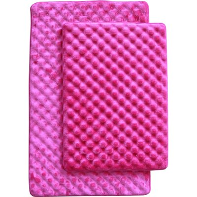 Martha 2 Piece Bath Mat Set Color: Fuchsia