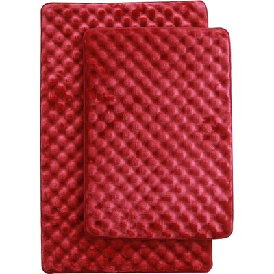 Martha 2 Piece Bath Mat Set Color: Burgundy