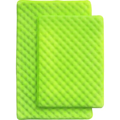 Martha 2 Piece Bath Mat Set Color: Lime Green