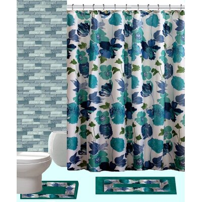 15 Piece Shower Curtain Set Color: Amanda