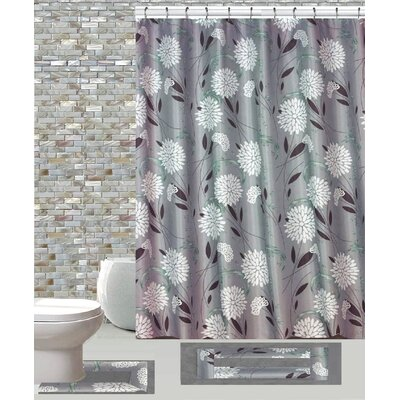 15 Piece Shower Curtain Set Color: Dove