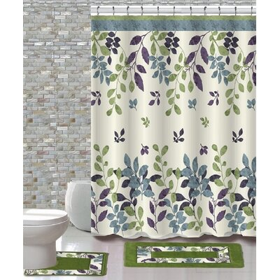 15 Piece Shower Curtain Set Color: Forest Green