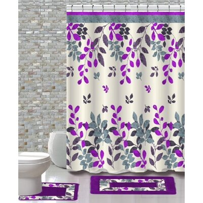 15 Piece Shower Curtain Set Color: Forest Purple