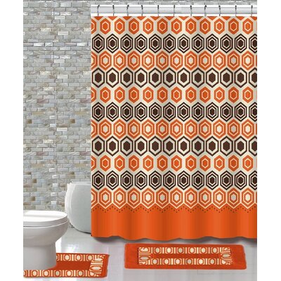 15 Piece Shower Curtain Set Color: Galaxy Orange