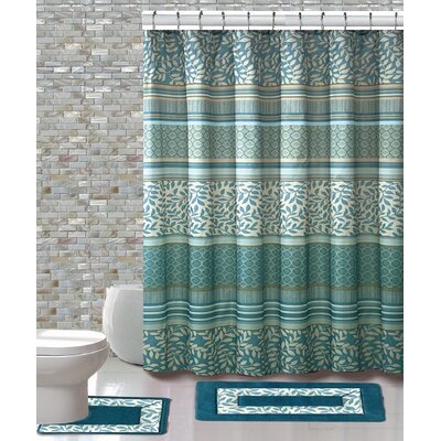 15 Piece Shower Curtain Set Color: Martha Aqua