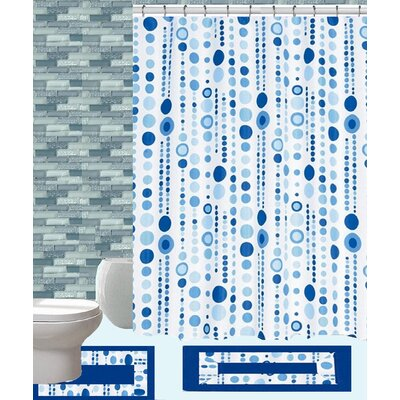 15 Piece Shower Curtain Set Color: Jackie Blue
