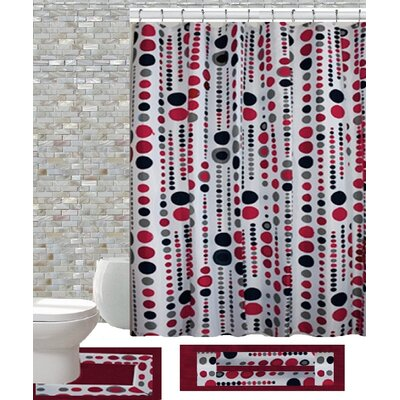 15 Piece Shower Curtain Set Color: Jackie Brugundy