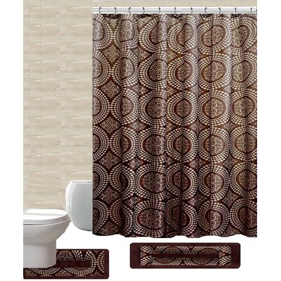 15 Piece Shower Curtain Set Color: Linda Brown