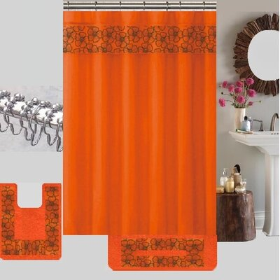 Shower Curtain Set Color: Orange LILIAN 15 Piece ORANGE