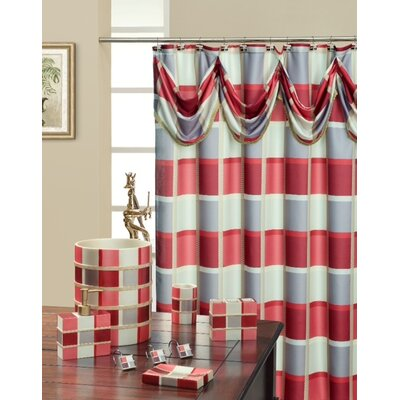 Madison Decorative Shower Curtain Color: Burgundy