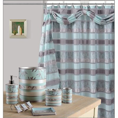 Venezia Decorative Shower Curtain Color: Aqua