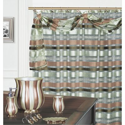 Elisa Decorative Shower Curtain with Scraft Color: Green