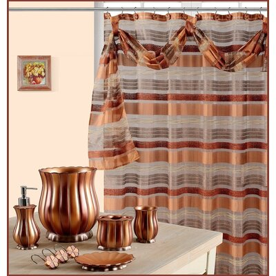 Elisa Decorative Shower Curtain with Scraft Color: Rust