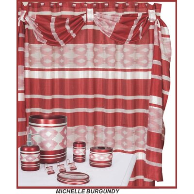 Michelle Decorative Shower Curtain Color: Red & White