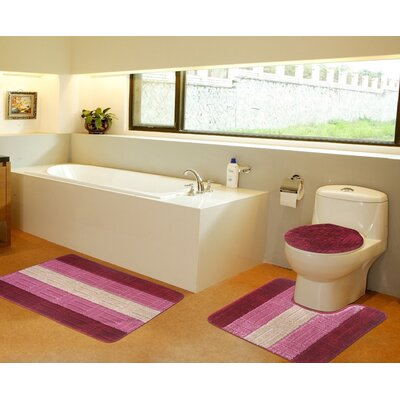3 Piece Bath Mat Set Color: Burgundy