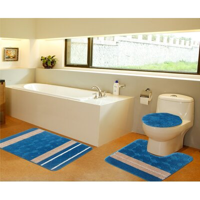 3 Piece Bath Mat Set Color: Turquoise