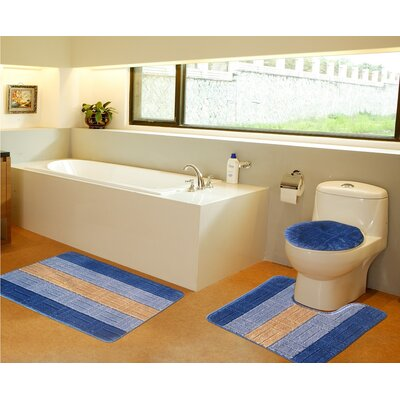 3 Piece Bath Mat Set Color: Navy Blue