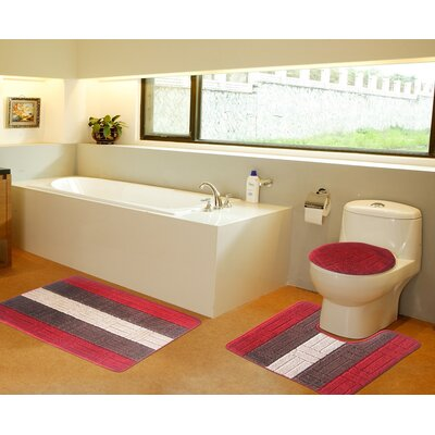 3 Piece Bath Mat Set Color: Red