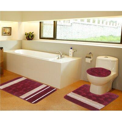 3 Piece Bath Mat Set Color: Burgundy