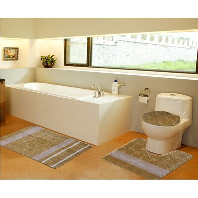 3 Piece Bath Mat Set Color: Gold